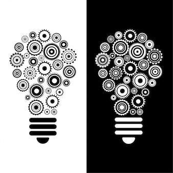 Idéia e inovação bulbo e engrenagens