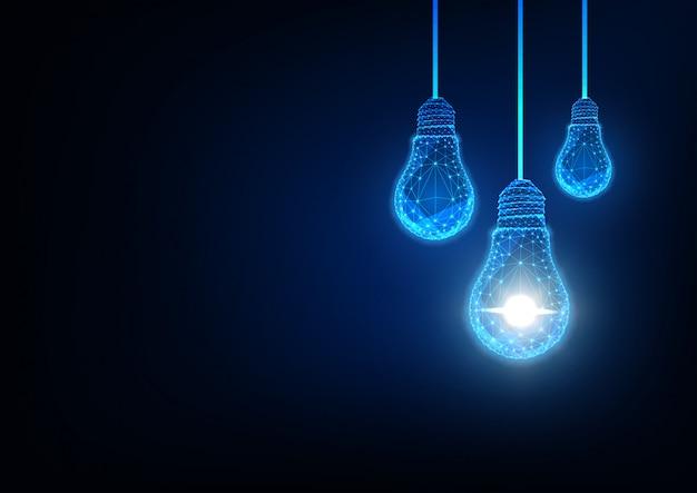Ideia futurista, inovação, conceito de solução criativa com lâmpadas poligonais baixas brilhantes