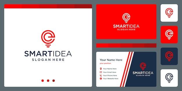 Idéia inteligente com lâmpada de forma e a letra e iniciais. modelo de design de cartão de visita. vetor premium