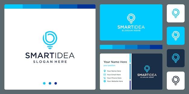 Idéia inteligente com lâmpada de forma e letra de iniciais b. modelo de design de cartão de visita. vetor premium