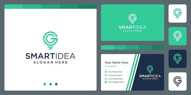 Ideia inteligente com modelo de design de cartão de visita de lâmpada de forma e letras iniciais g. vetor premium