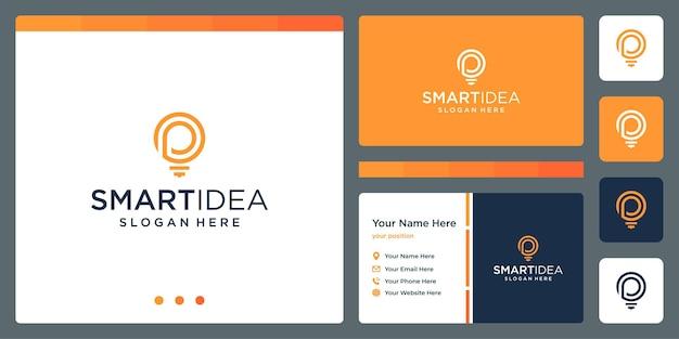 Ideia inteligente com modelo de design de cartão de visita de lâmpada de forma e letras iniciais p. vetor premium