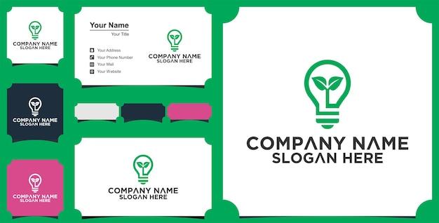 Idéia lâmpada natureza criativa modelo de logotipo e cartão de visita