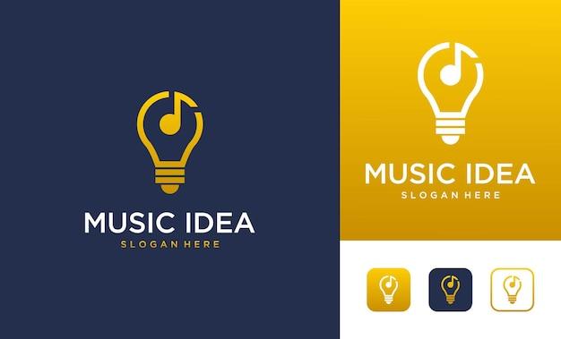 Ideia musical com lâmpada e design de logotipo de nota