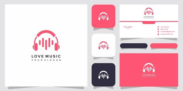 Ideia musical com logotipo de coração e cartão de visita