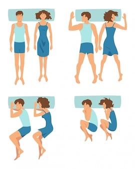 Ideia superior dos pares que dormem junto em posições engraçadas diferentes. coleção de vetores em estilo cartoon