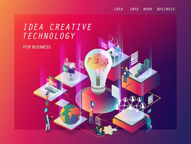 Ideia tecnologia de negócios criativos isométrica