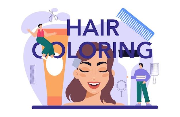 Idéia tipográfica de cabeçalho de coloração de cabelo de cabeleireiro em tesouras de salão de beleza
