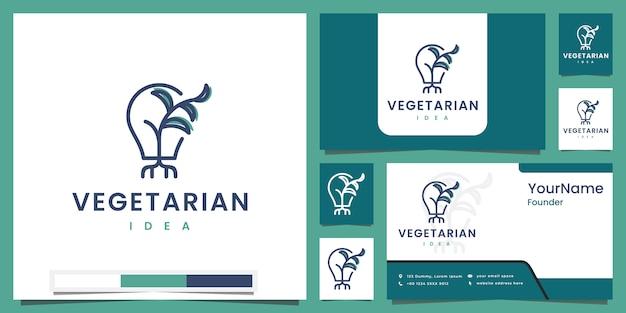 Ideia vegetariana inspiração de design de logotipo de cor de arte de linha saudável