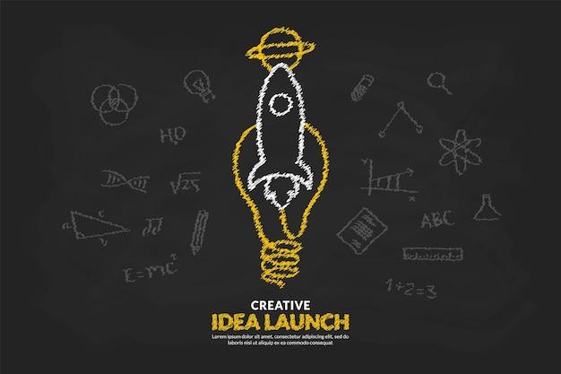 Ideias criativas com lâmpada e foguete lançando para o fundo do espaço, conceito de ideia inicial