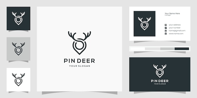 Ideias criativas de logotipo de marcador de alfinete de veado