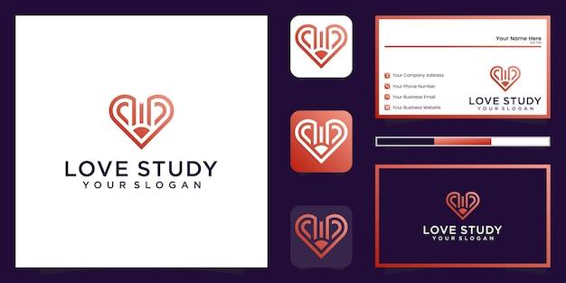 Ideias criativas de símbolos em logotipo de lápis e coração e inspiração de cartão de visita