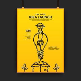 Ideias criativas e conceito de inovação com foguete de lâmpada lançando pôster pronto para usar