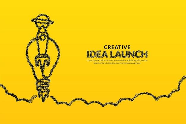 Ideias criativas e inovação com lançamento de foguete de lâmpada para o fundo do espaço conceito de inicialização