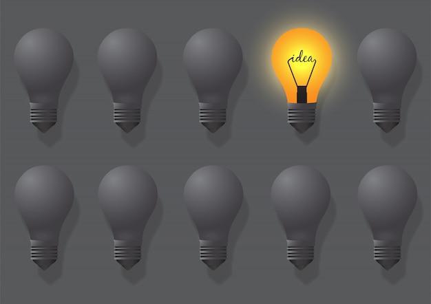 Idéias criativas sobre a lâmpada. lâmpadas diferentes e distintas são revestidas