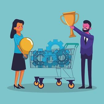 Idéias de compras de pessoas de negócios e segurando o troféu copa copa ilustração vetorial design gráfico