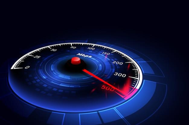 Idéias de conexão de internet de alta velocidade, velocímetro e conexão à internet