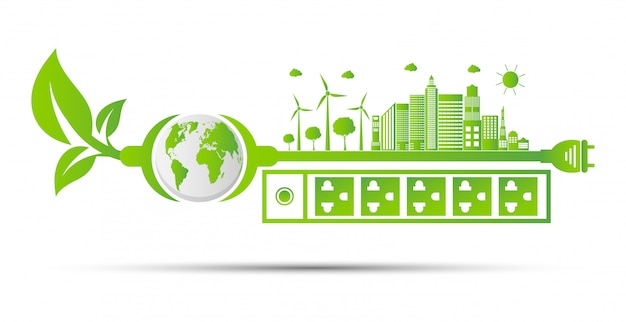Idéias de energia salvar o conceito de mundo ecologia de plug de energia verde