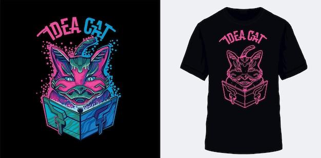 Idéias de gato na forma de partículas inspiradas em catálogos são adequadas para roupas de serigrafia