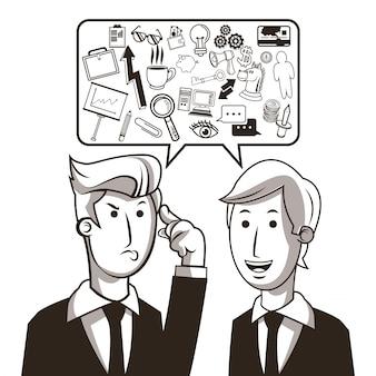 Ideias de homem de negócios e conjunto de ícones