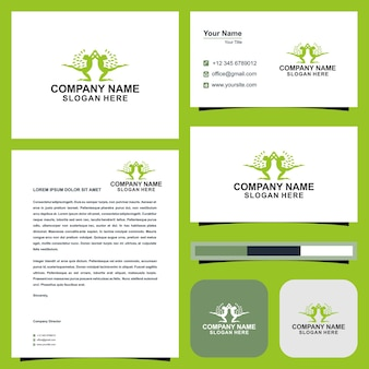 Ideias de logotipo de ioga e cartão de visita premium vector
