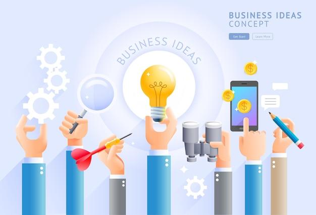 Idéias de negócios conceituais.