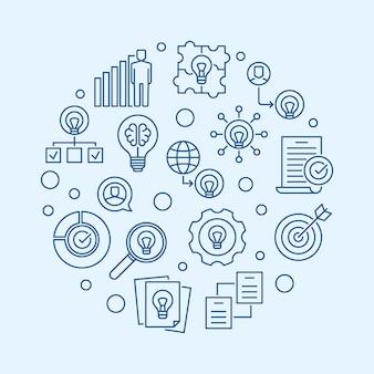 Ideias de negócios redondo ilustração contorno