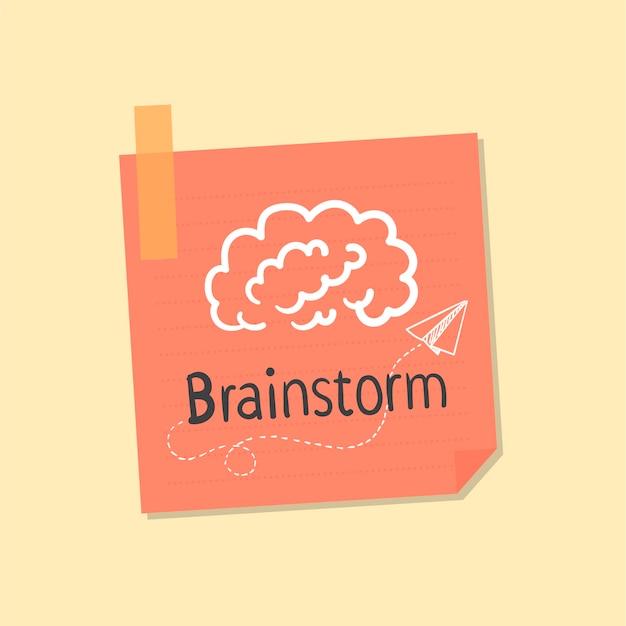 Idéias e ilustração de nota de brainstorming