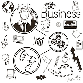 Ideias empresariais e conjunto de ícones