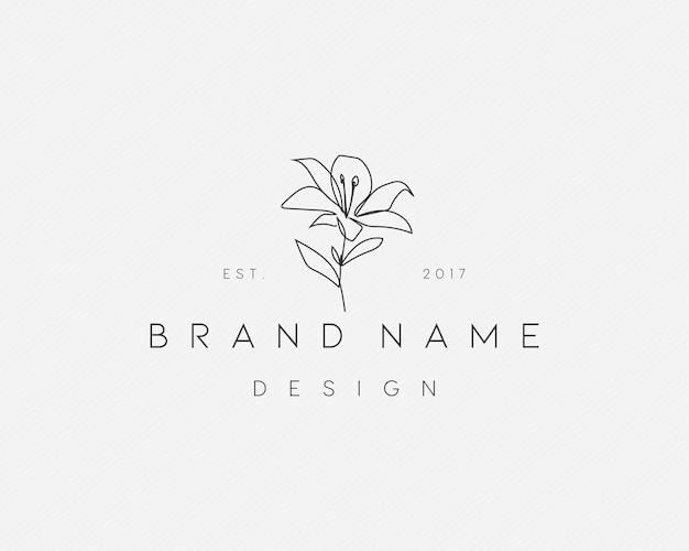 Ideias femininas de logotipo de flor monoline