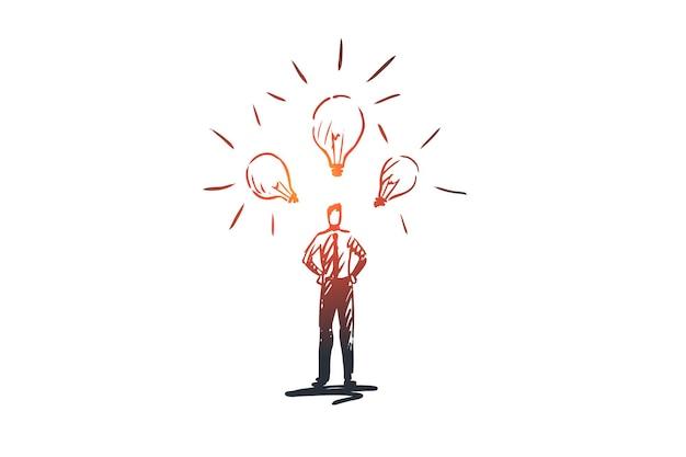 Ideias, lâmpada, luz, solução, conceito criativo. empresário desenhado de mão com um monte de esboço de conceito de ideias.