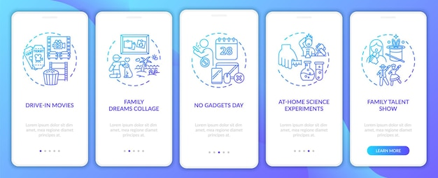 Idéias para diversão em família na tela da página do aplicativo móvel com conceitos. demonstração de talentos da família em 5 etapas do passo a passo da escola. modelo de interface do usuário com ilustrações coloridas rgb