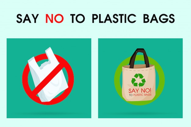 Idéias para reduzir a poluição diga não ao saco de plástico.