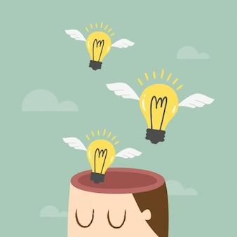 Ideias que saem de uma cabeça