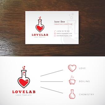 Identidade abstrata do logotipo do laboratório do amor