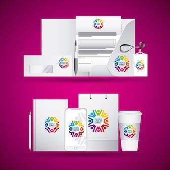 Identidade corporativa branding negócio papelaria cabeçalho publicitário