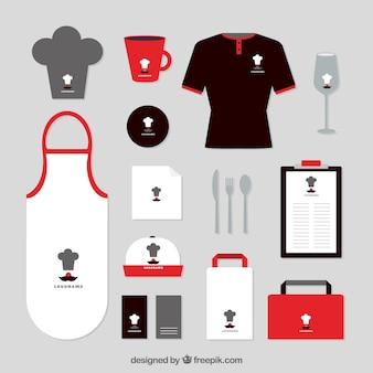 Identidade corporativa com detalhes vermelhos