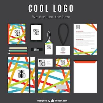 Identidade corporativa com faixas coloridas