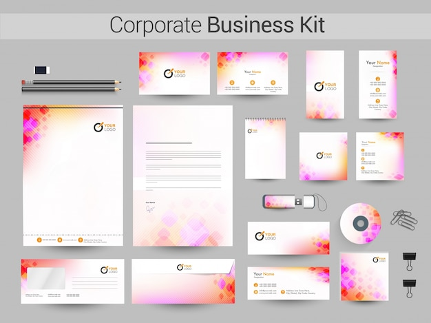 Identidade corporativa criativa ou design do business kit.