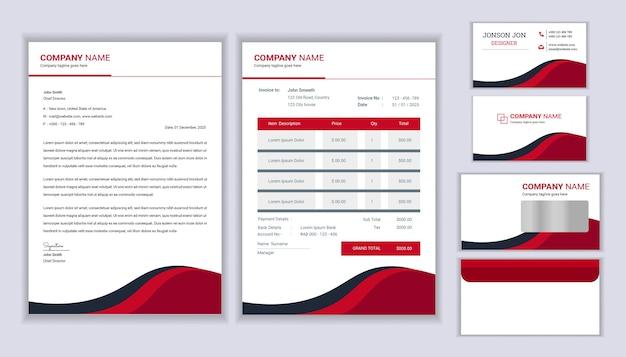 Identidade corporativa da empresa de papelaria moderna com modelo de papel timbrado, fatura e cartão de visita