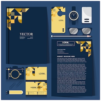 Identidade corporativa definida com design branco em ouro e azul