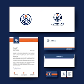 Identidade corporativa editável com envelope, cartão de visita e papel timbrado.