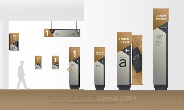 Identidade corporativa exterior e interior da signage do eco