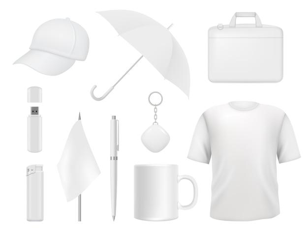 Identidade corporativa. itens de lembrança de negócios roupas embalagens adesivos caneta distintivo modelo de maquete vazio