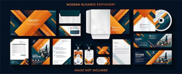 Identidade corporativa negócios design vetor papelaria Vetor Premium