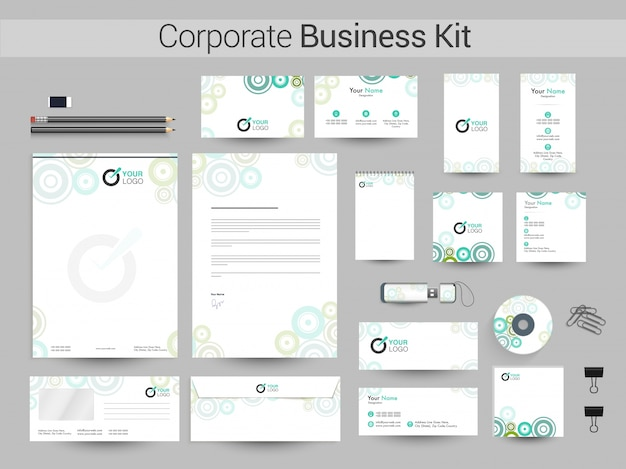 Identidade corporativa ou business kit com círculos verdes.