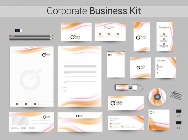 Identidade corporativa ou business kit com ondas.