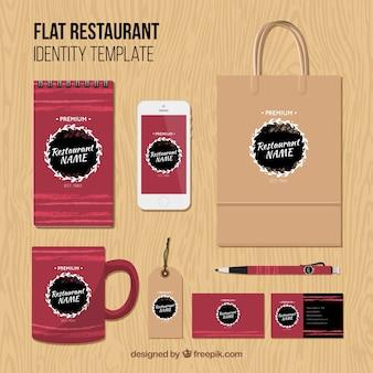 Identidade corporativa para o restaurante vermelho