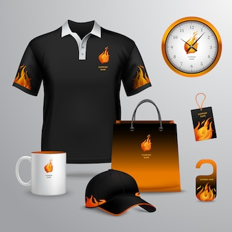 Identidade corporativa preto e fogo modelo decorativo conjunto com saco de papel tag ilustração vetorial de caneca