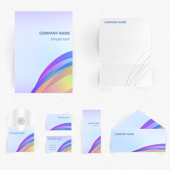 Identidade corporativa profissional definida com o nome da empresa e ilustração vetorial isolada realista de texto de amostra